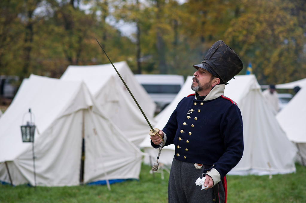 . A Historical enthusiast from Germany in the role of Prussian line infantry prepare to commemorate the 200th anniversary of The Battle of Nations on October 18, 2013 in Leipzig, Germany.  (Photo by Jens Schlueter/Getty Images)