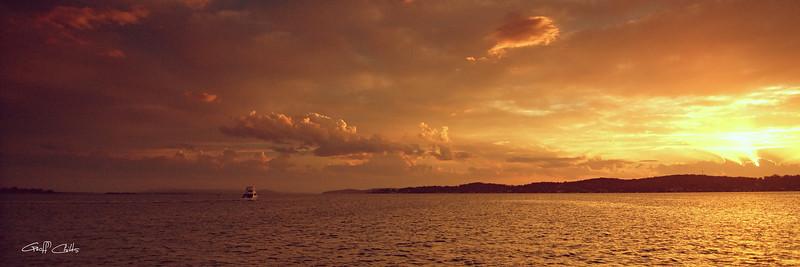 Golden Cloud Sunset Seascape.