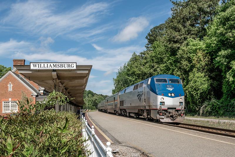 Amtrak Train Pulling Into Williamsburg Virginia Station