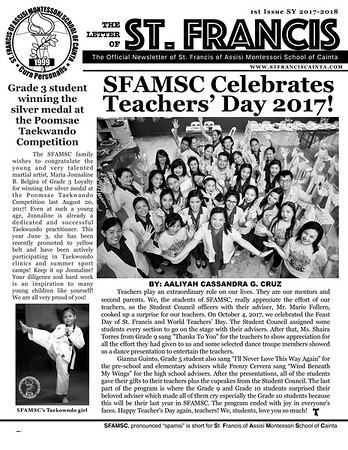 SFAMSC Newsletter Issue 1 2017-2018