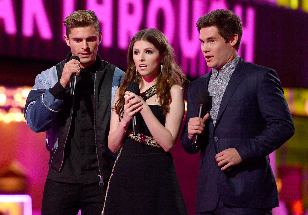 . Zac Efron, from left, Anna Kendrick and Adam DeVine present the award for breakthrough performance at the MTV Movie Awards at Warner Bros. Studio on Saturday, April 9, 2016, in Burbank, Calif. (Kevork Djansezian/Pool Photo via AP)