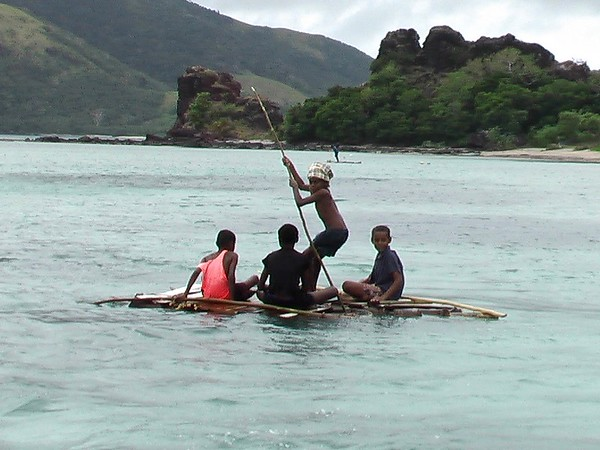 Kids on Rafts, Nacula Island, Yasawa Islands, Fiji - August 2004