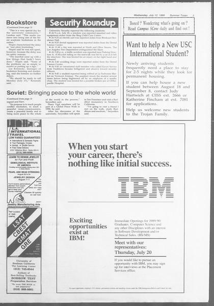 Summer Trojan, Vol. 109, No. 9, July 12, 1989