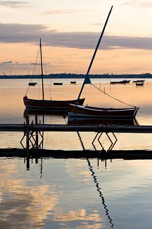 Wooden pier overlooking Puck Bay, early evening, Hel Peninsula, Baltic Sea, Poland