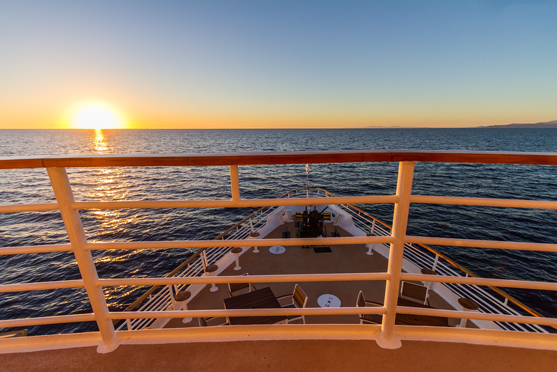 View of a sunset over the ocean from a cruise ship - Mexico