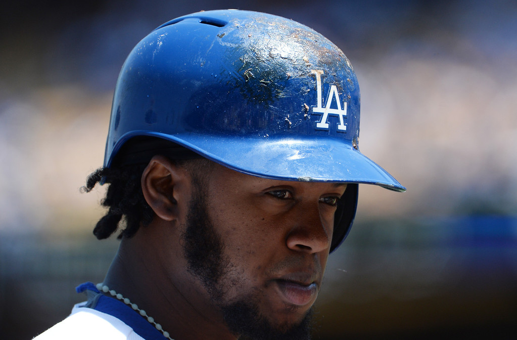 . Los Angeles Dodgers\' Hanley Ramirez in the first inning of a Major league baseball game against the San Francisco Giants on Saturday, May 10, 2013 in Los Angeles.   (Keith Birmingham/Pasadena Star-News)