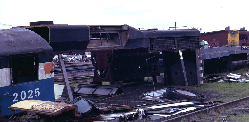 The dynamic brake area on the hood of a former GM&O GP30. Shown without the dynamic brake grids in place. At Rock Island's Silvis shops, May 1973. Don Strack Photo