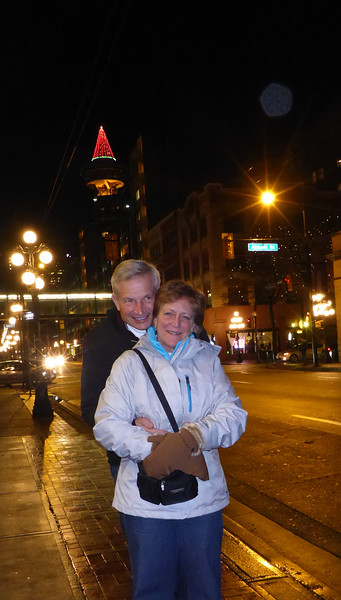 Mom and Dad in the gaslight district of Vancouver.