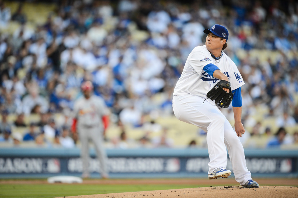 . Dodgers\' Hyun-Jin Ryu starts against the Cardinals in game 3 of the NLCS Monday October 14, 2013 ( Photo by Hans Gutknecht/Los Angeles Daily News )