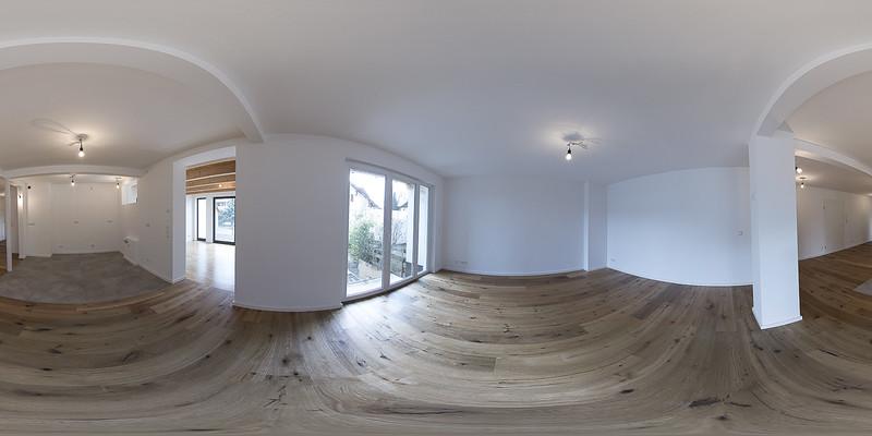 360 Grad-Ansicht vom Wohn- und Essbereich
