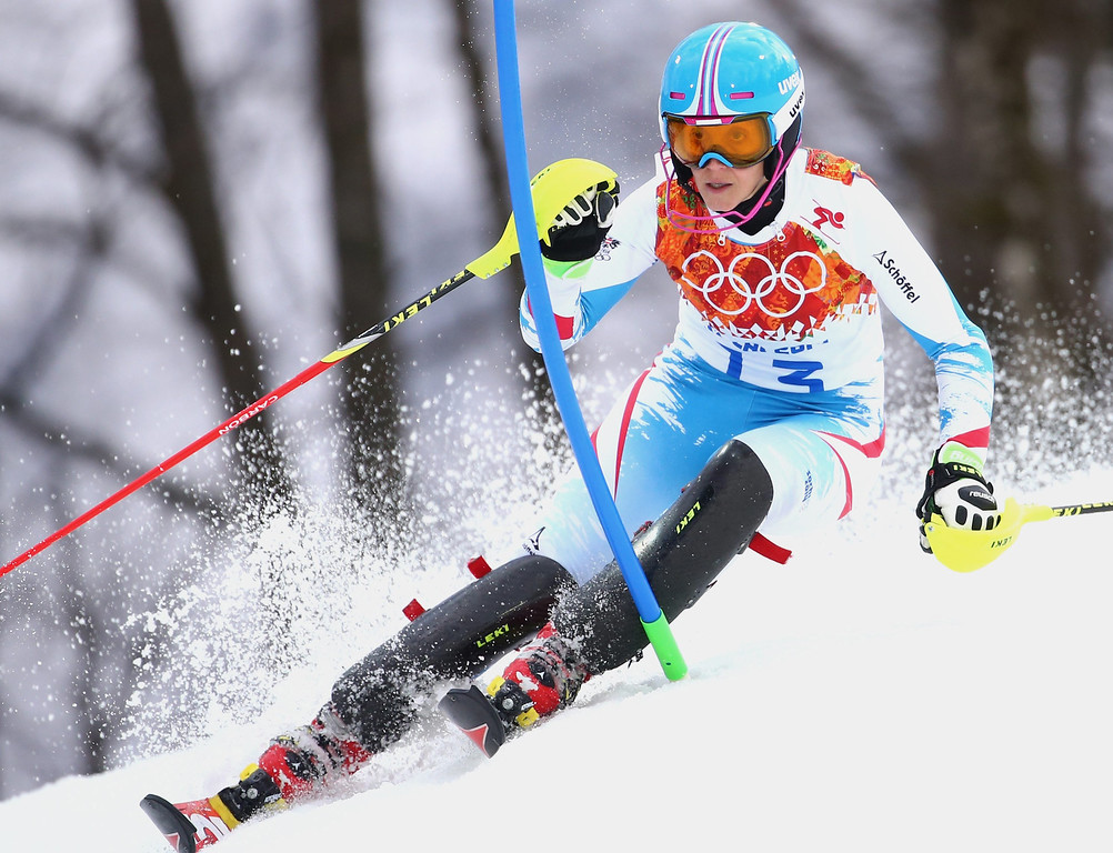 . Michaela Kirchgasser of Austria in action during the first run of the Women\'s Slalom race at the Rosa Khutor Alpine Center during the Sochi 2014 Olympic Games, Krasnaya Polyana, Russia, 21 February 2014.  EPA/MICHAEL KAPPELER