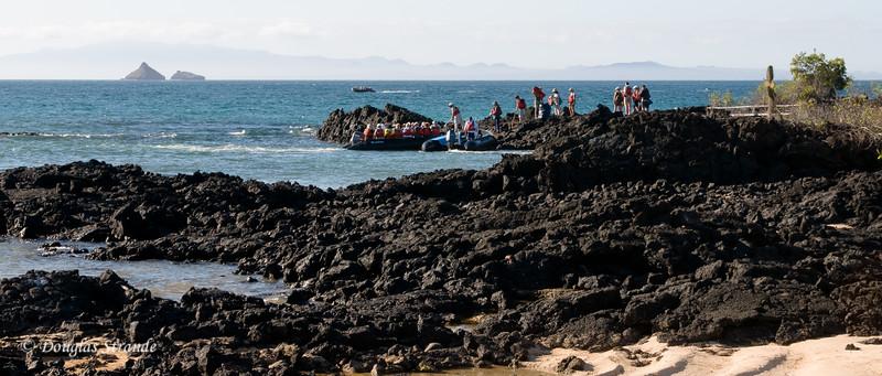 Zodiac landing site on Dragon Hill, Santa Cruz Island.  Daphne Major & Minor are visible in the distance.
