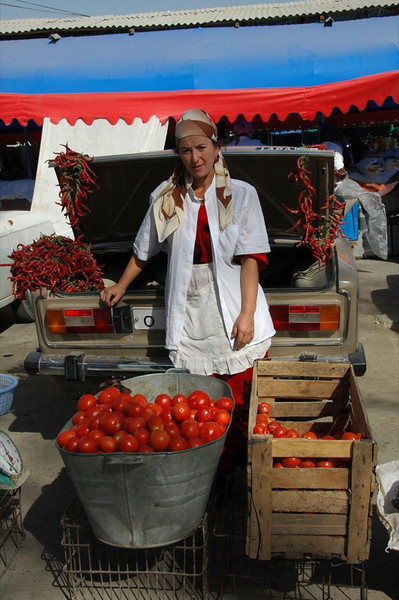 Peppers and Tomatoes at Varzob Bazaar - Dushanbe, Tajikistan