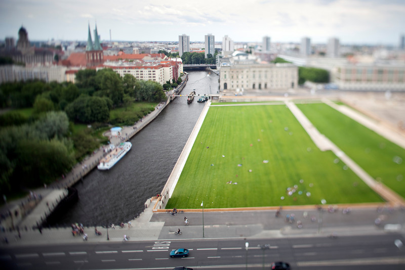 View of Lustgarten and the Spree river from the dome of the Cathedral, Berlin, Germany. Tilted lens used for shalow depth of field.