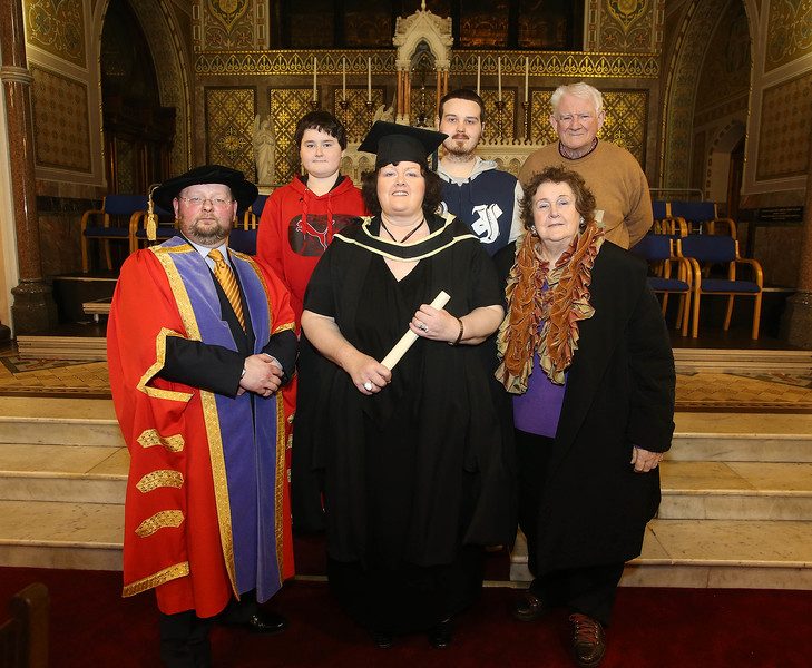 Pictured is Maria Cleere, Waterford who graduated Master of Arts in Teaching and Learning in Further and Higher Education. Also pictured are Mathew, David, Tony and Marie Cleere Picture: Patrick Browne.