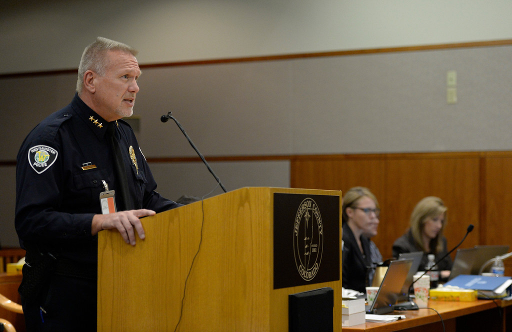 . City of Westminster Police Chief Lee Birk speaks during Austin Sigg\'s sentencing hearing in Jefferson County Court, in Golden, November 18, 2013. Sigg, who pleaded guilty to the kidnapping and murder of 10-year-old Jessica Ridgeway, was in Courtroom 1-A with Chief Judge Stephen M. Munsinger presiding over the hearing. (Photo by RJ Sangosti/The Denver Post)