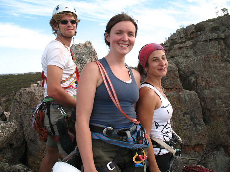 Serge (left), Kaitlin and Johanna (right) on top of Bluff Major.  Photo: Trent