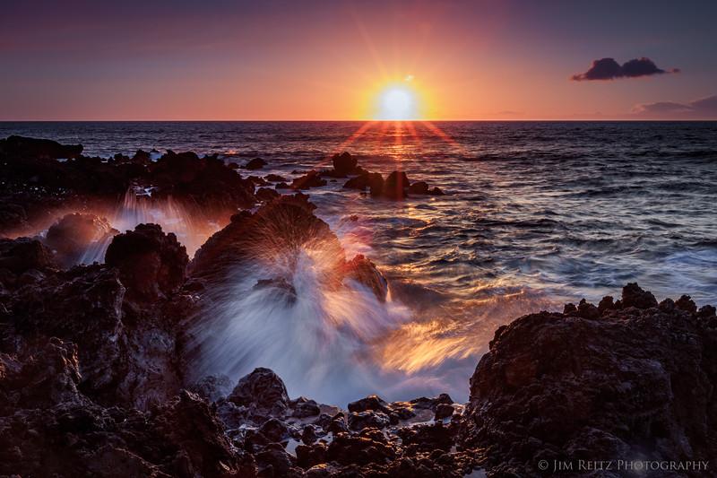 Sunset waves - North Kona coast.