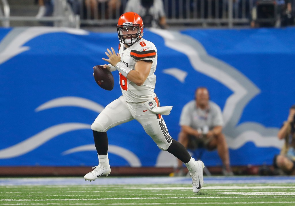. Cleveland Browns quarterback Baker Mayfield scrambles during the first half of an NFL football preseason game against the Detroit Lions, Thursday, Aug. 30, 2018, in Detroit. (AP Photo/Paul Sancya)