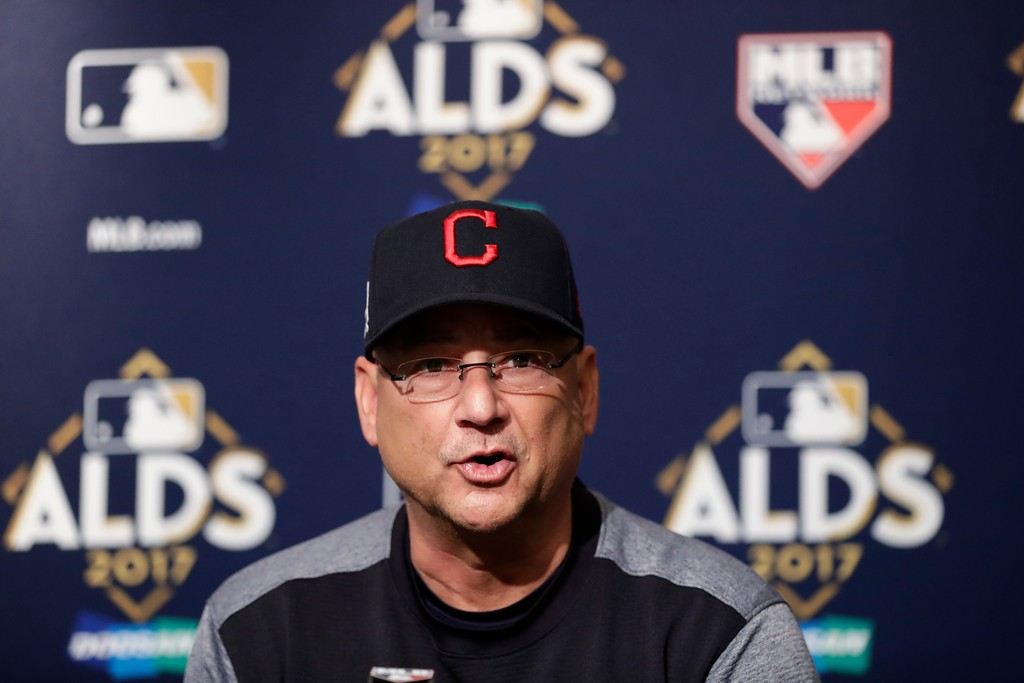 . Cleveland Indians manager Terry Francona speaks during a news conference before Game 4 of baseball\'s American League Division Series against the New York Yankees, Monday, Oct. 9, 2017, in New York. (AP Photo/Frank Franklin II)