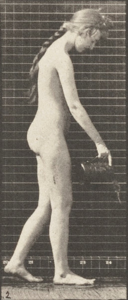 Nude woman walking and pouring water from a pitcher
