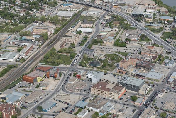 DAVID LIPNOWSKI / WINNIPEG FREE PRESS  Downtown Winnipeg  Aerial photography over Winnipeg May 18, 2016 shot from STARS helicopter.