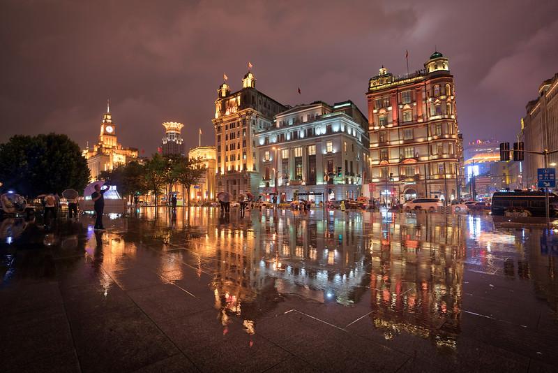 Rain on the Bund in Shanghai
