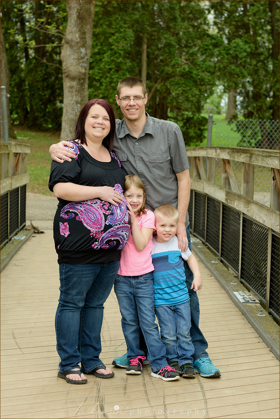 Family on bridge