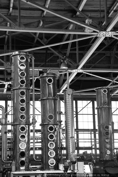 Black and white versions of distillery photos.