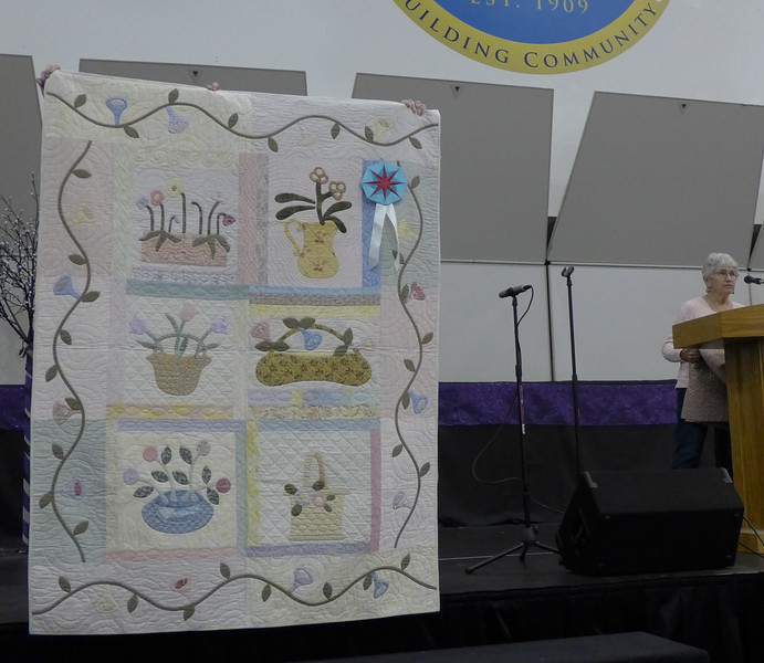 Geri Smith's quilt received an award for best Hand Work.
