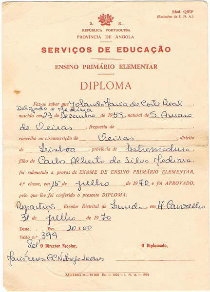 Diploma da 4* classe da Yolanda Medina
