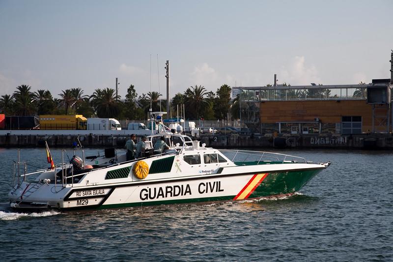 Guardia Civil launch, seaport of Barcelona, autonomous commnunity of Catalonia, northeastern Spain