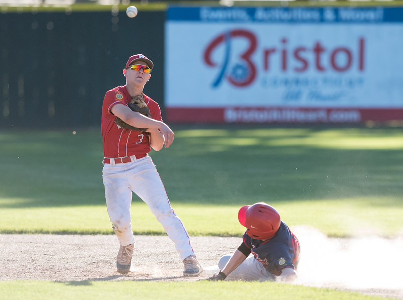 06/25/18  Wesley Bunnell | Staff  Bristol Legion baseball vs Winsted on Monday evening at Muzzy Field. Second baseman Noah Plantamuro (3) turns the double play.