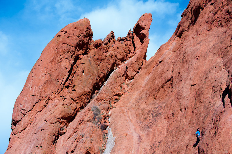 Rock climber in the Garden of the Gods, Colorado Springs, Colorado.