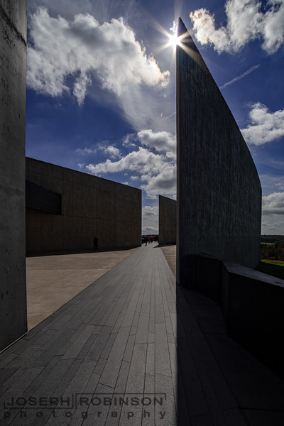 This walkway marks the final path of Flight 93.  This photo looks in the direction  of the impact.