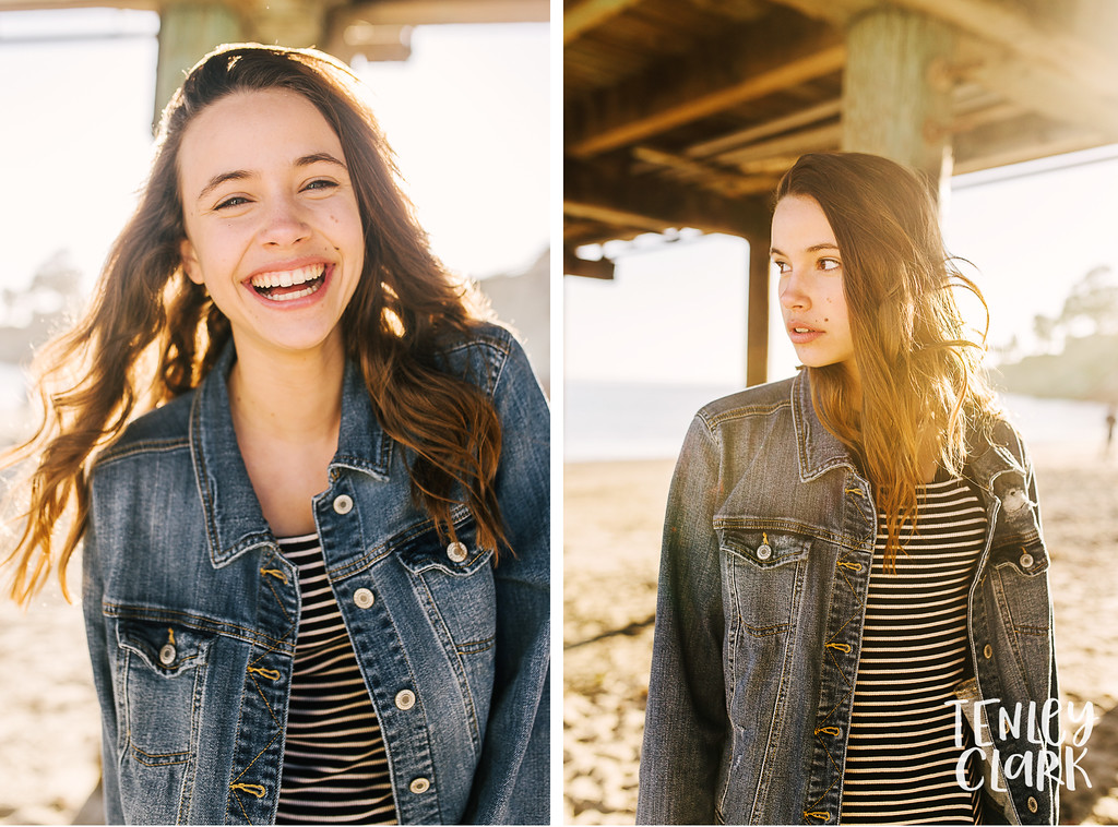 Colorful and playful lifestyle teen model headshot portfolio session at Capitola Beach by Tenley Clark Photography