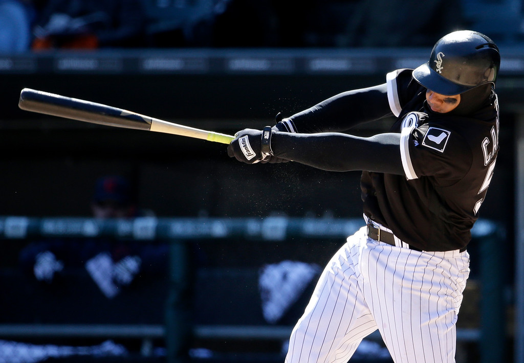 . Chicago White Sox\'s Melky Cabrera hits an one-run single during the seventh inning of a baseball game against the Cleveland Indians on Saturday, April 9, 2016, in Chicago. (AP Photo/Nam Y. Huh)