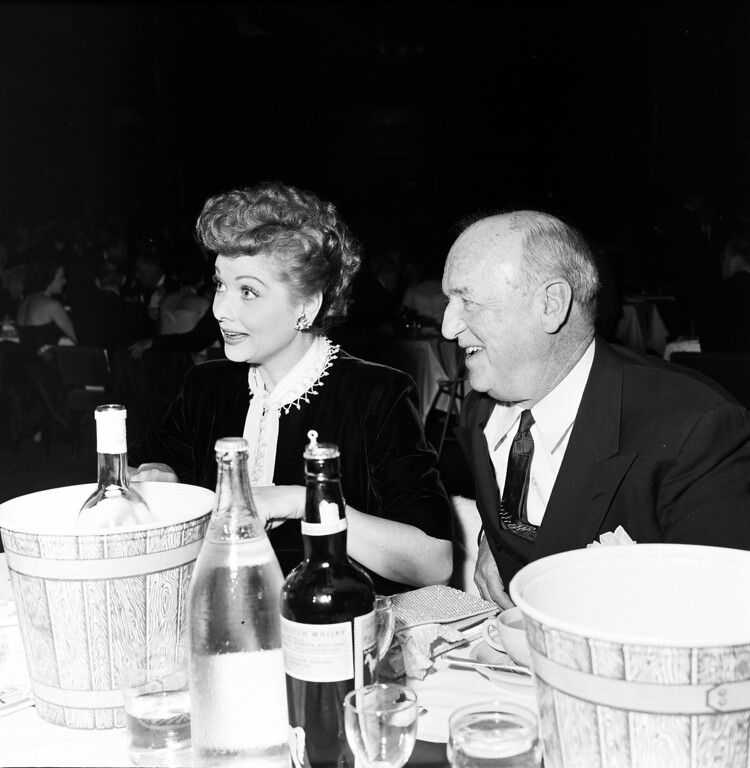 . HOLLYWOOD, CA - FEBRUARY 11, 1954: (L-R) Actors Lucille Ball and William Frawley attend the 1953 Emmy Awards at the Hollywood Palladium on February 11, 1953 in Hollywood, California. (Photo by TVA/PictureGroup/Invision for the Academy of Television Arts & Sciences/AP Images)