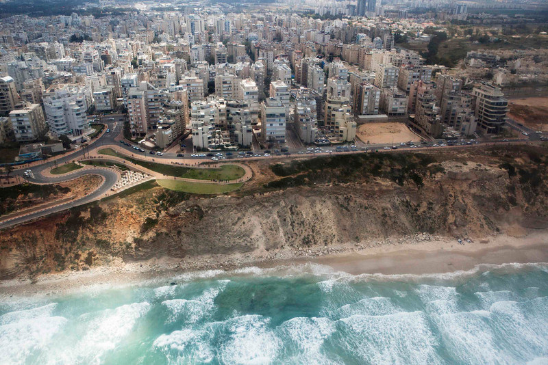 . The central city of Netanya on the Mediterranean coast is seen during a flight as part of an aerial show for Israel\'s Independence Day, marking the 65th anniversary of the creation of the state, April 16, 2013. REUTERS/ Nir Elias