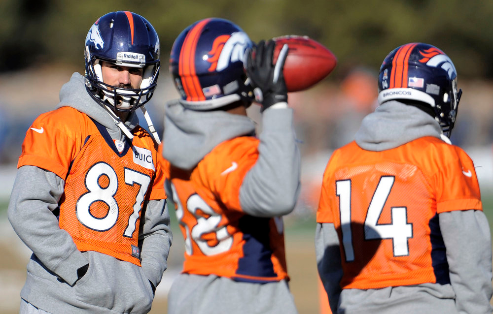 . Denver Broncos wide receiver Eric Decker (87) looks on during  practice Thursday, January 3, 2013 at Dove Valley.  John Leyba, The Denver Post