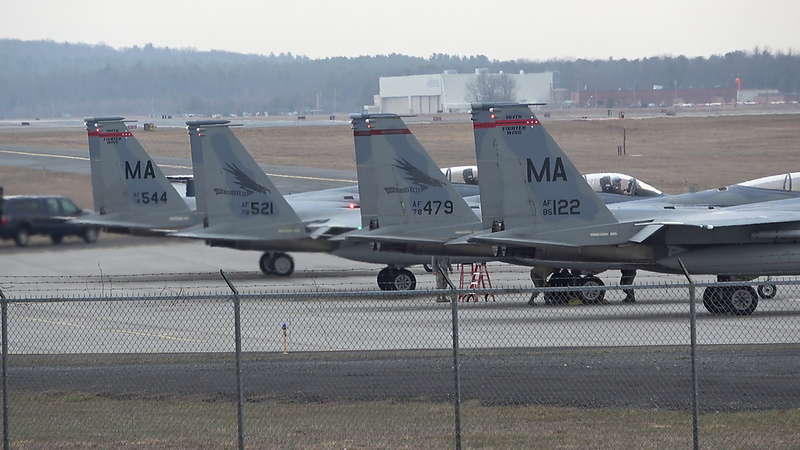 4-13-18...eight F-15s taking off inlc two SLAM jets...first F-15 videos with AX53...shot from lumberyard in Manual Focus  with Barska grip