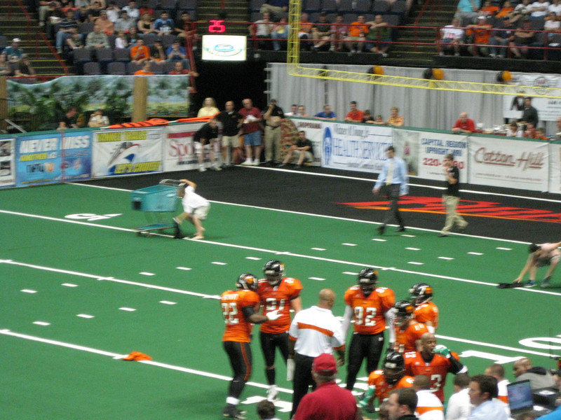 An on-field promotion involving shopping carts.