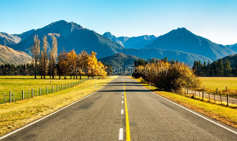Highway through the Castle Hill area heading  towards the Southern Alps of New Zealand