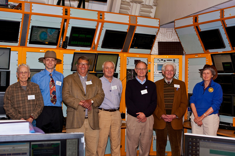 Don Edwards, Sergie Nagiatsev, Peter Limon, Lyn Evens, Mike Witherall, Leon Lederman, and Helen Edwards in Fermilab's Main Control Room on September 30, 2011.