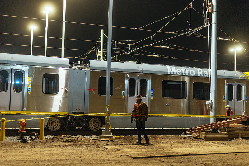 First rail cars in new Crenshaw/LAX Line's Southwestern rail yard.
