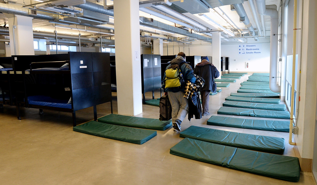 """. The first floor of Higher Ground includes 120 bunks and up to 51 floor mats to accomondate emergency \""""overflow\"""" shelter for men.  (Pioneer Press: Chris Polydoroff)"""