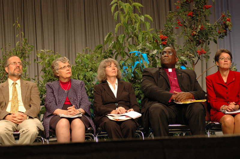 The Rev. Dr. Timothy Wengert (member of the UMC-ELCA dialogue), Dr. Kathryn Johnson (member of the UMC-ELCA dialogue), The Rev. Dr. Sarah Heaner Lancaster (member of the UMC-ELCA dialogue), Bishop Gregory Palmer (President, Council of Bishops, United Methodist Church), and Bishop Sallya Dyck (United Methodist Church's North Central Jurisdiction, Episcopal are of Minnesota).
