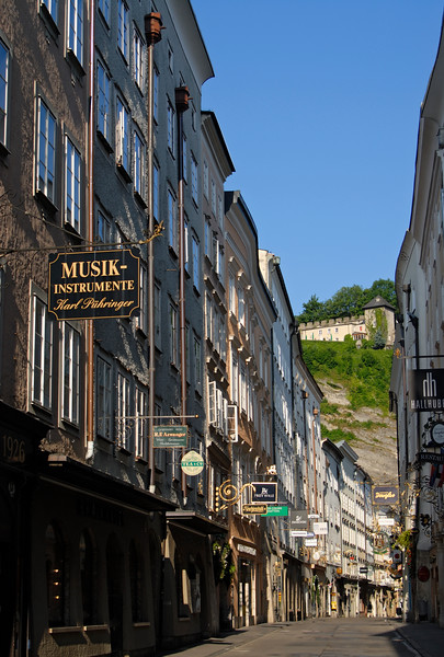 Getreidegasse - Elegant Shopping Street in the Historic Centre of Salzburg, Austria.