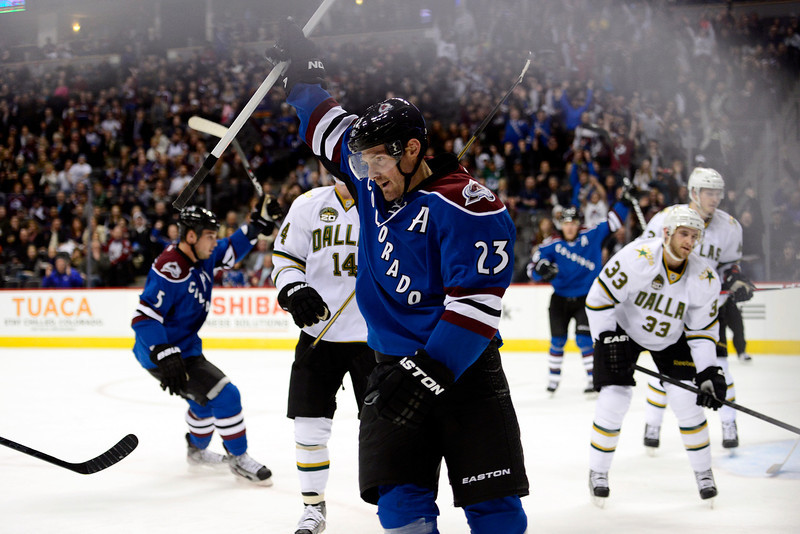 . Milan Hejduk celebrates his goal against the Dallas Stars during the first period of action. Colorado Avalanche versus the Dallas Stars at the Pepsi Center on February 4, 2012. (Photo By AAron Ontiveroz/The Denver Post)