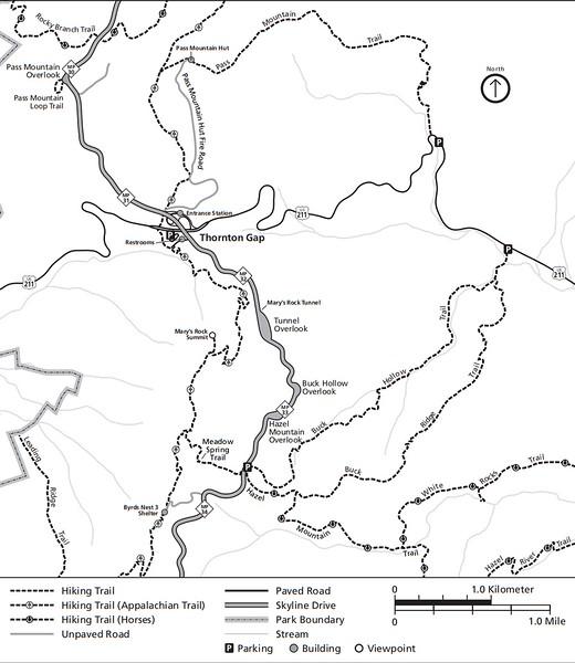 Shenandoah National Park (Trails - Thornton Gap Area)